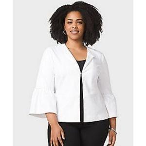 Roz & Ali White Cardigan Blazer Ruffle Sleeve 2X